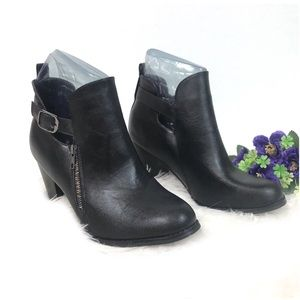 Torrid Side Zipper Ankle Strap Faux Leather Boots
